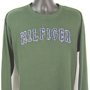 TOMMY HILFIGER Green Thermal T-Shirt Size L